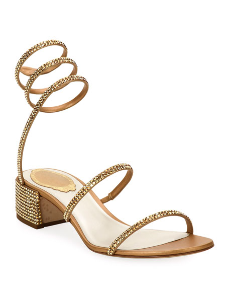 Crystal Snake 40mm Sandals, Gold