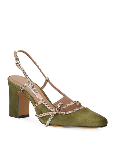 Donnie Suede & Snakeskin Bow Pumps  Olive