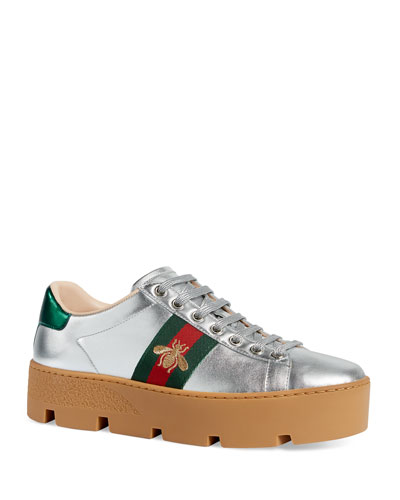 b8a64cb0cd3 New Ace Metallic Leather Bee Thick-Sole Sneakers Quick Look. Gucci