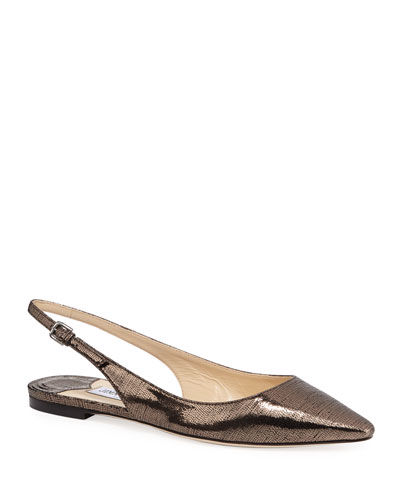Erin Metallic Lizard-Print Leather Slingback Flats
