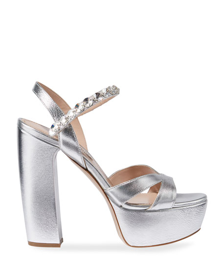 Metallic Crystal-Strap Platform Sandals