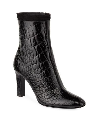 Crocodile-Embossed Zip Booties