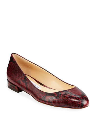 Jessie Snake-Print Leather Flats