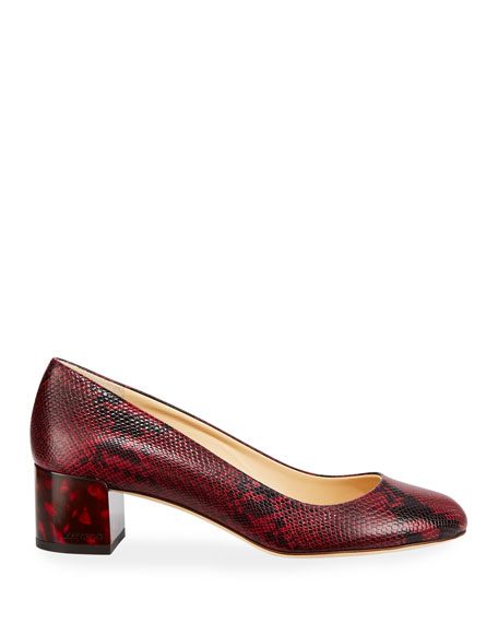 Jessie Snake-Print Leather Pumps