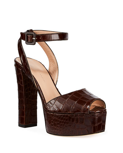 Croc-Embossed Leather Platform Sandals