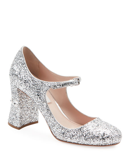 Glittered Crystal-Heel Mary Jane Pumps