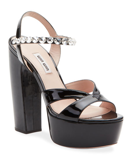 Platform Patent Strap Crystal Crystal Patent Sandals Strap Platform Patent Crystal Strap Sandals 7mYbyIf6gv