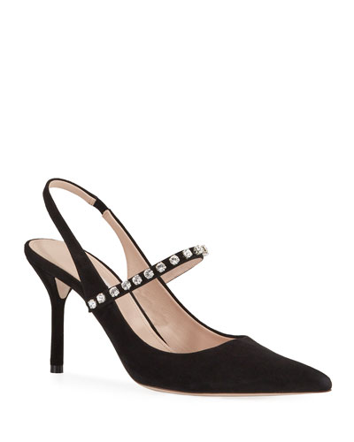 Crystal-Strap Pointed-Toe Pumps