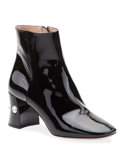 Crystal-Heel Patent Leather Ankle Booties