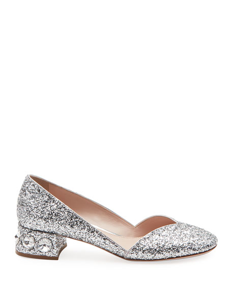 Crystal-Heel Glittered Low Pumps