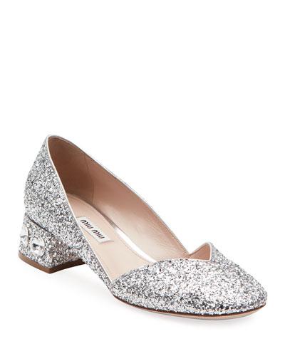 Crystal-Heel Glittered Low Pumps
