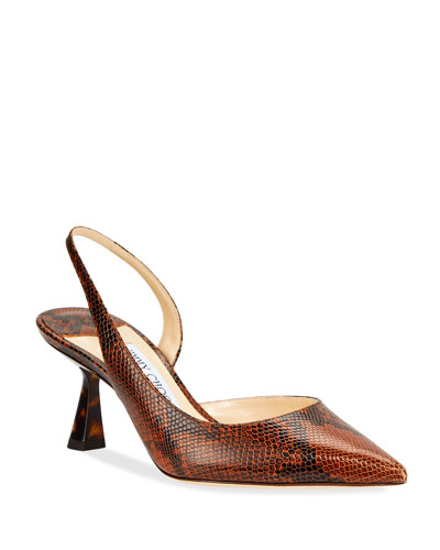 Fetto Snake-Print Leather Slingback Pumps