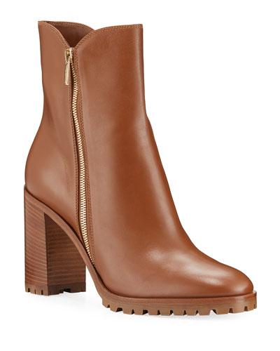 Calf Leather Zip Booties