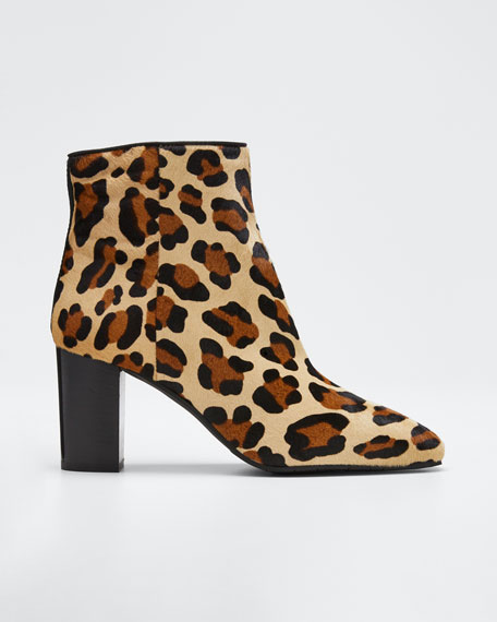 Florita Leopard-Print Calf Hair Booties