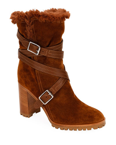 Suede Eco Buckle Ankle Boots