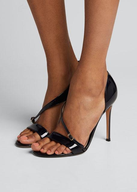 Patent Cross-Strap Sandals, Navy