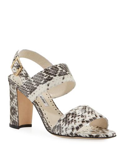 3fbc714a6b293 Khan Snakeskin Sandals Quick Look. Manolo Blahnik