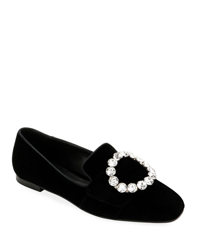 Velvet Loafers with Jeweled Buckle
