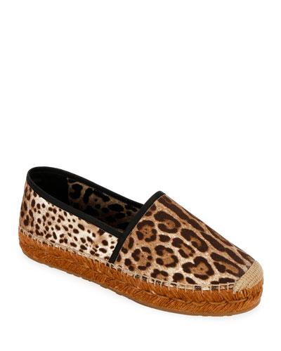 Leopard-Print Flat Espadrilles