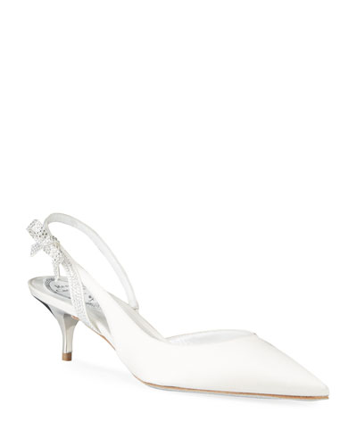 Satin Strass Bow Slingback Pumps