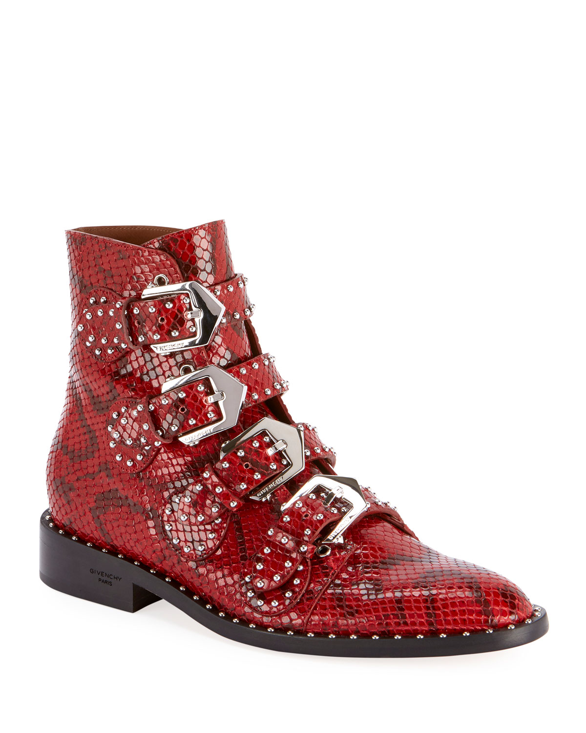 Givenchy Boots Elegant Studded Python-Print Booties