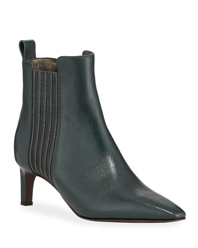 Glossy Calf Booties with Monili Stripes