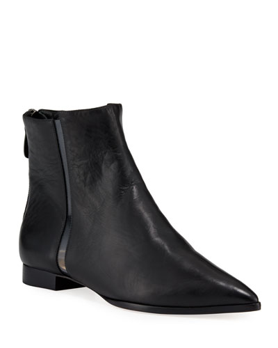 Dora Leather Booties with Transparent Striping  Black