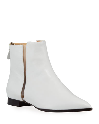 Dora Leather Booties with Transparent Striping  White
