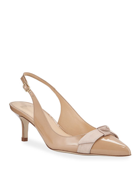 Pam Turtle-Cap Slingback Pumps