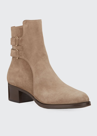 Velukid Suede Double-Buckle Booties