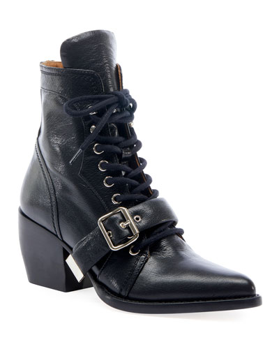 Rylee Lace-Up Leather Booties