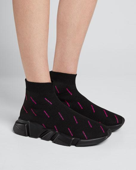 Speed Logo-Knit Logo Sneakers