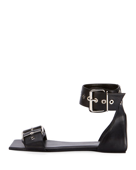 Flat Belted Leather Sandals