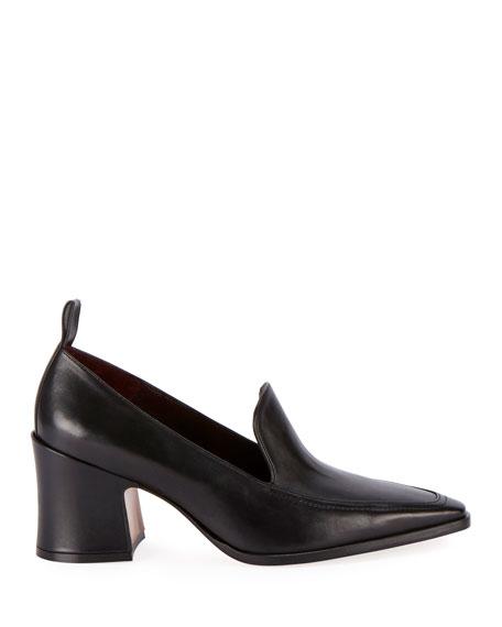 Calf Block-Heel Loafers