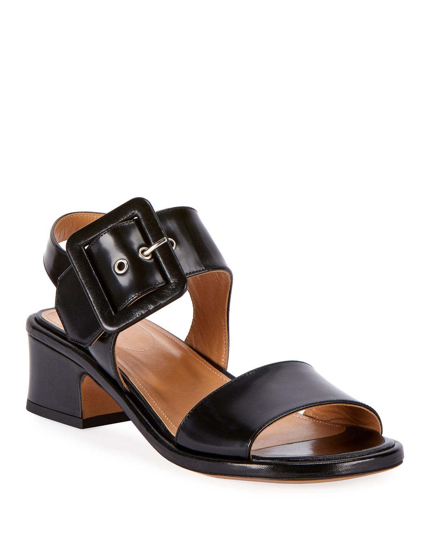 Dries Van Noten Sandals Shiny Leather Buckle Sandals