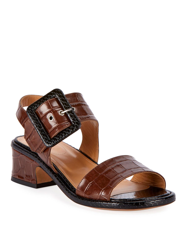 Dries Van Noten Sandals Shiny Crocodile-Print Buckle Sandals