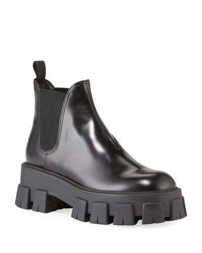 Spazzolato Leather Lug Platform Boots