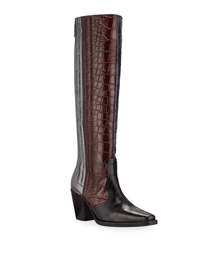 Mixed Pattern Western Knee Boots