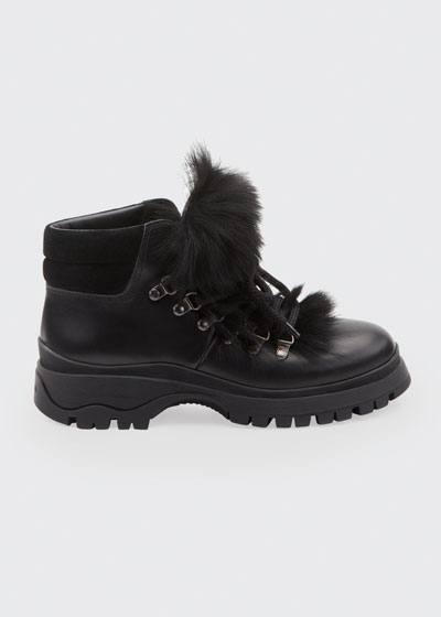 Lug-Sole Hiker Boots with Fur Trim