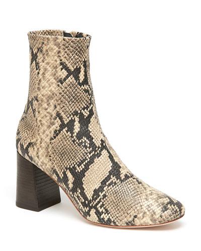 Elise Snake-Print Leather Booties