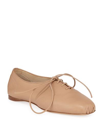 Maya Snakeskin Oxford Loafers  Beige