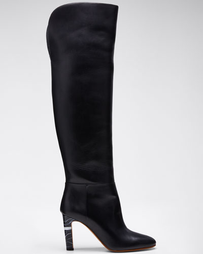 Linda Leather Knee Boots