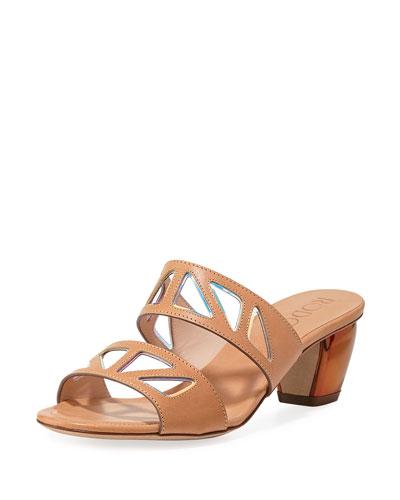 Iridescent Cutout Slide Sandals