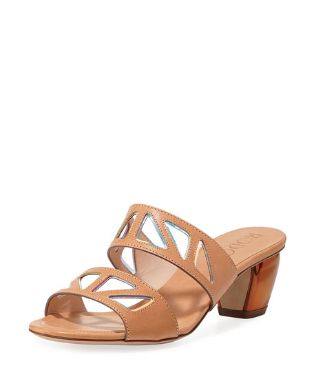 RODO Iridescent Cutout Slide Sandals