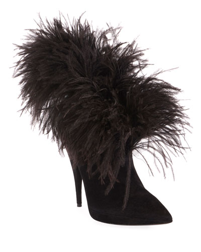 Zizi Suede Feather Booties