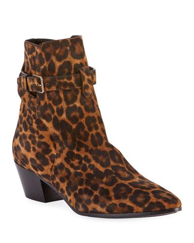 West Leopard-Print Booties