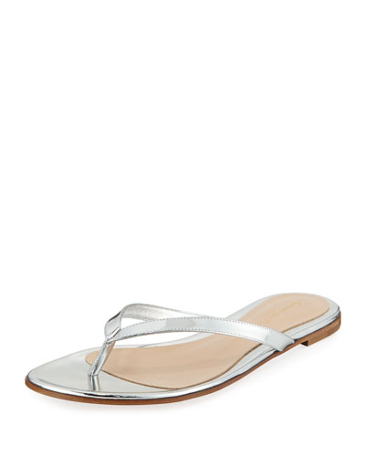 Metallic Leather Thong Sandals with Crystal Anklet