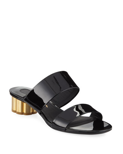 Belluno Patent Two-Band Slide Sandals with Flower Heel