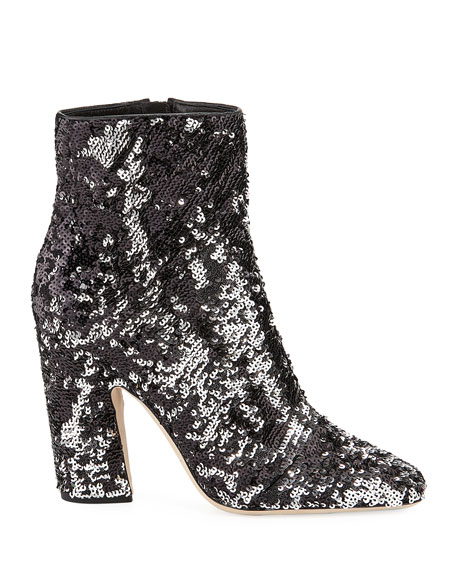Mirren Sequined Block-Heel Booties