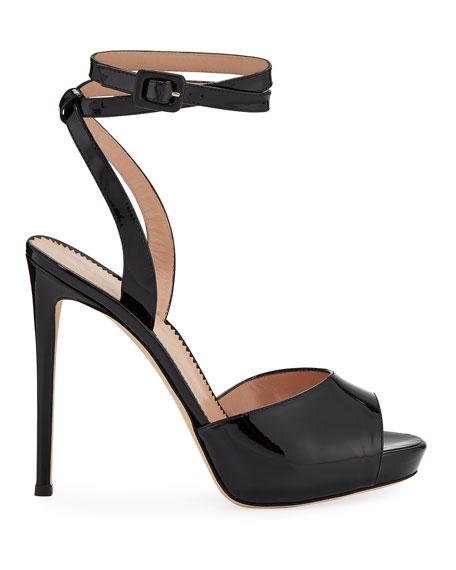Ankle-Wrap Patent Stiletto Sandals